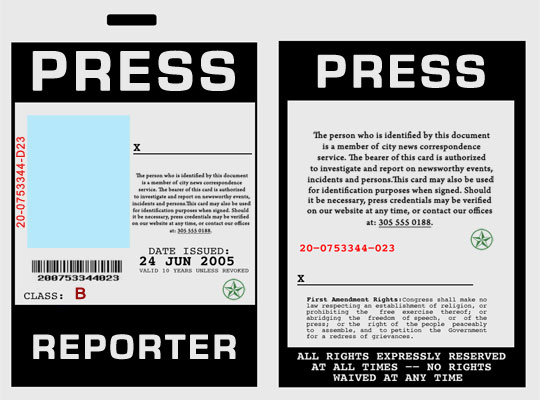 Press Reporter Badge