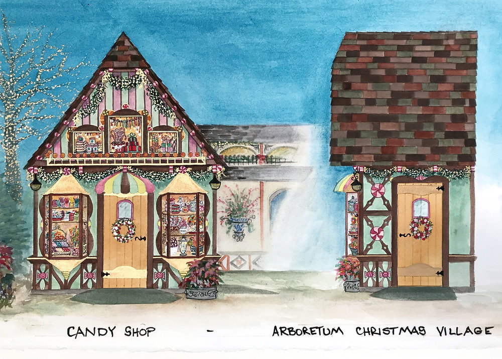 Christmas village architectural design for candy shop with watercolor render
