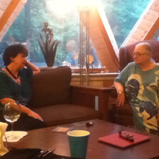 Aeptha chats with Dolores Ashcroft-Nowicki at Ceelie Court
