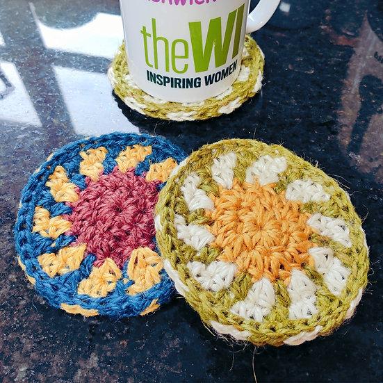 Jute Coasters Daisy/Sunflower