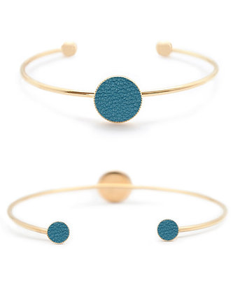 Bracelet Dots Game cuir bleu paon