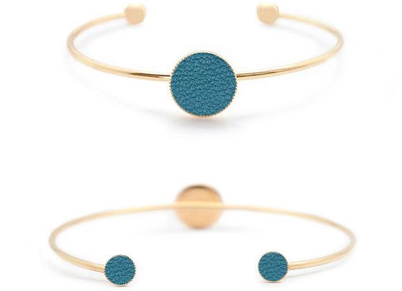 bracelet personnalisable cuir bleu paon haptier