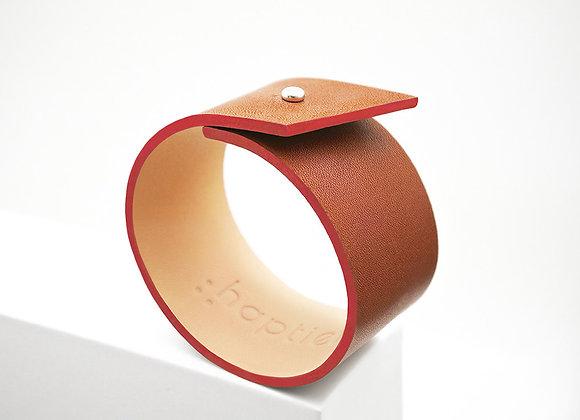 bracelet cuir naturel haptier panache rouge