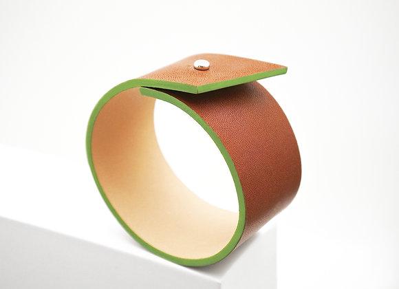bracelet cuir naturel haptier panache tranche verte