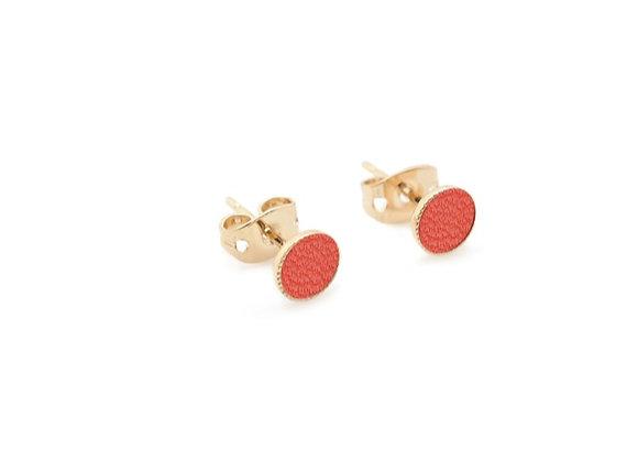 Puces d'oreilles Dots Game cuir corail