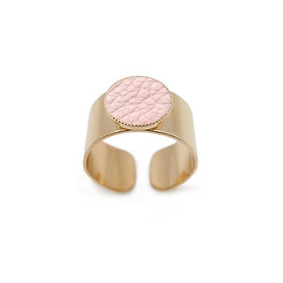Bague Dots Game cuir rose