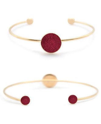 Bracelet Dots Game cuir bordeaux velours