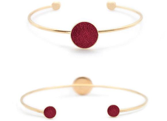 Bracelet Dots Game cuir bordeaux velours