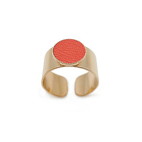 Bague Dots Game cuir corail