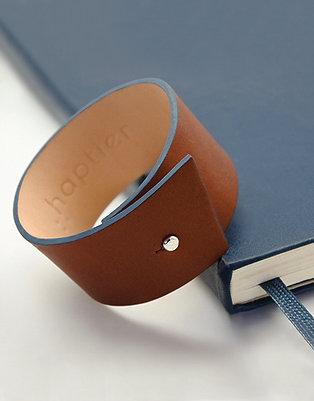 Bracelet en cuir Panache tranche bleui minéral