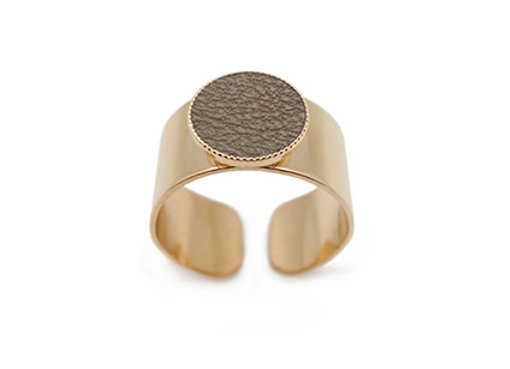 Bague Dots Game cuir taupe