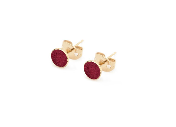 Puces d'oreilles Dots Game cuir Bordeaux velours