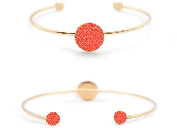 bracelet personnalisable cuir rouge corail haptier