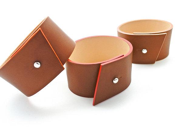 bracelets en cuir naturel haptier panache rouge orange rose