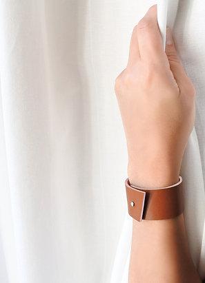 Bracelets en cuir Panache tranche rose