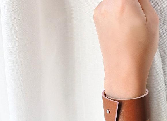 bracelet en cuir naturel haptier panache rose