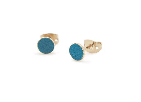Puces d'oreilles Dots Game cuir bleu paon