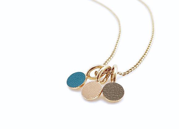 Collier Dots Game en cuir bleu, taupe, doré