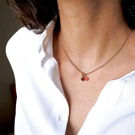 Collier Dots Game Cuir rouge, corail, rose