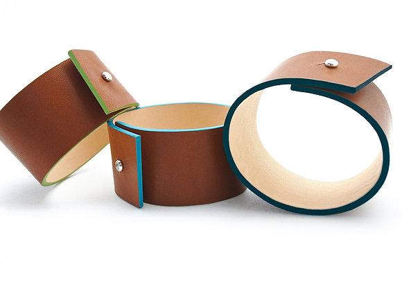 bracelets en cuir naturel haptier panache bleu vert
