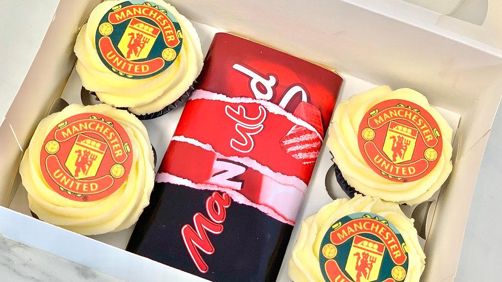Box of 4 Football cupcakes and bar
