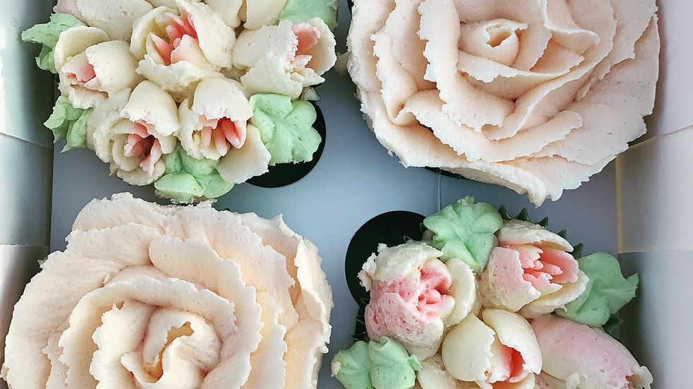 Flower Cupcakes Box of 4