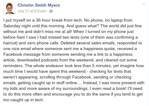 Unplug Facebook post