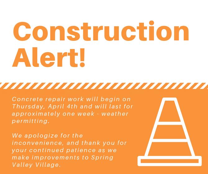Concrete Repair Work - April 4th