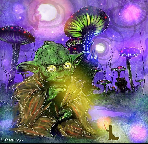 Yoda psychedelic rip with the dark side