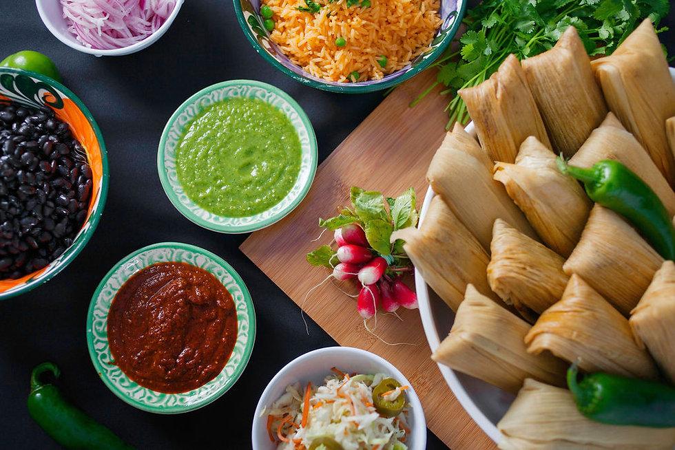 Donaji Tamales, Salsa, Beans, Rice , Pickled Onions