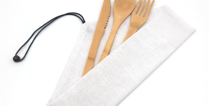 Straw and Cutlery Wrap Pouch