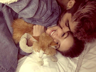 Zayn Malik plants a tender kiss on girlfriend Gigi Hadid as they cuddle up in bed