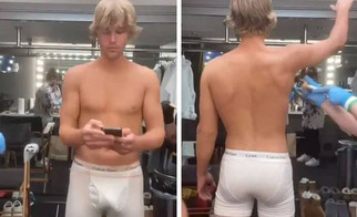Justin Bieber with a rare (nearly) bare body