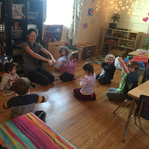 circle time - squeezing bubble wrap