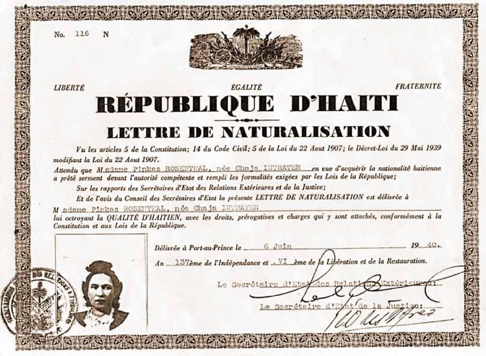 Lettre de naturalisation, 1940.