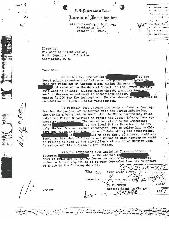 Mémo datant du 19 août 1933, de l'agent du FBI J. M. Keith.