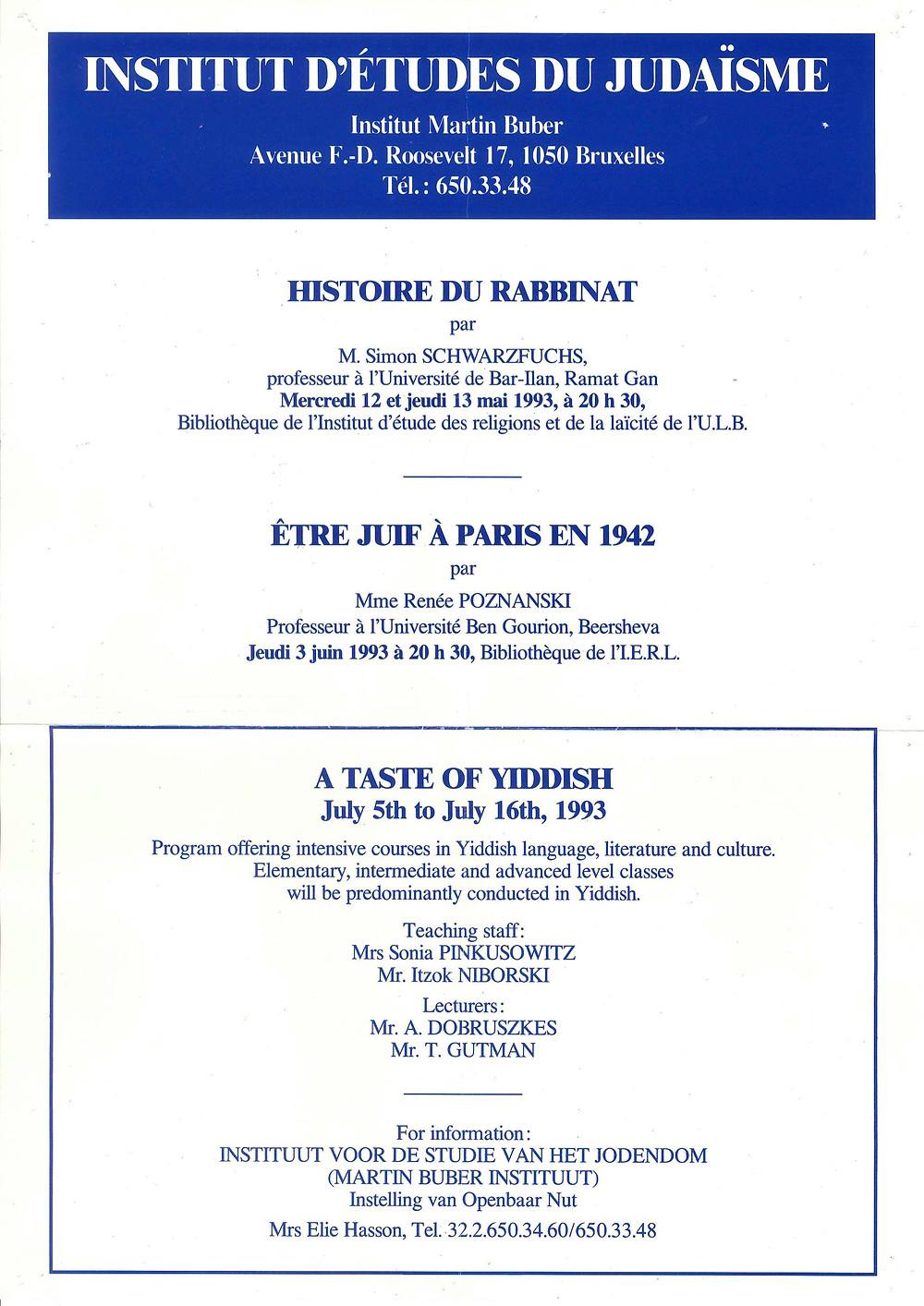 Affiche du premier séminaire de yiddish à l'IEJ (1993).