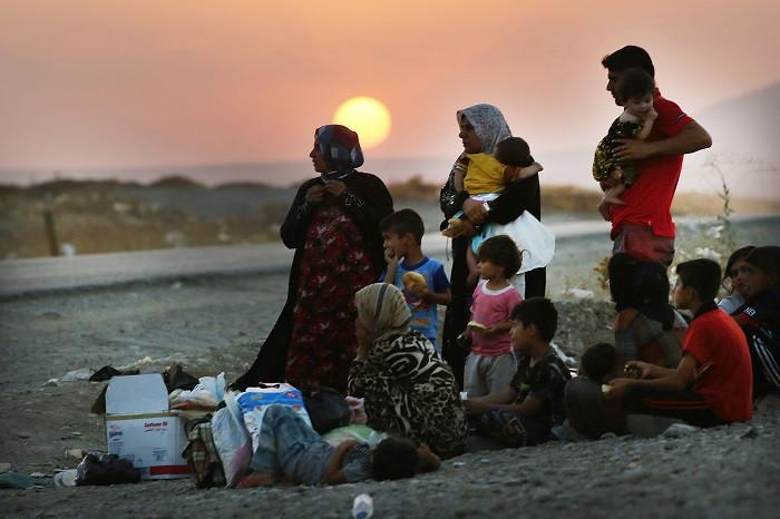 Yézidis réfugiés dans les montagnes du Sinjar