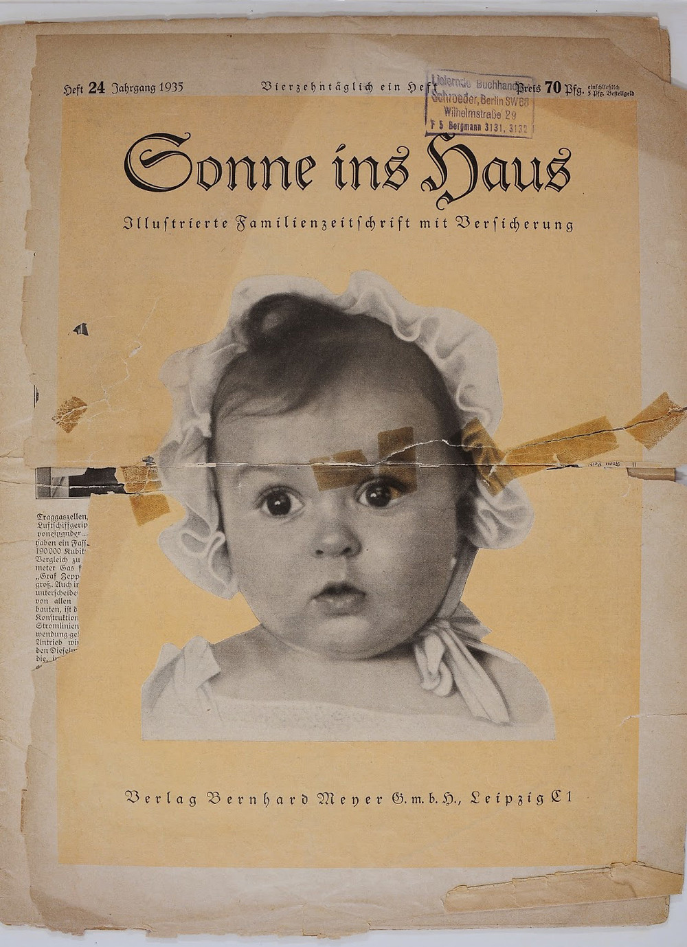 "Hessy Levinsons Taft en 1935. Couverture du magazine nazi, ""Sonne ins Haus"" - (c) Yad Vashem."
