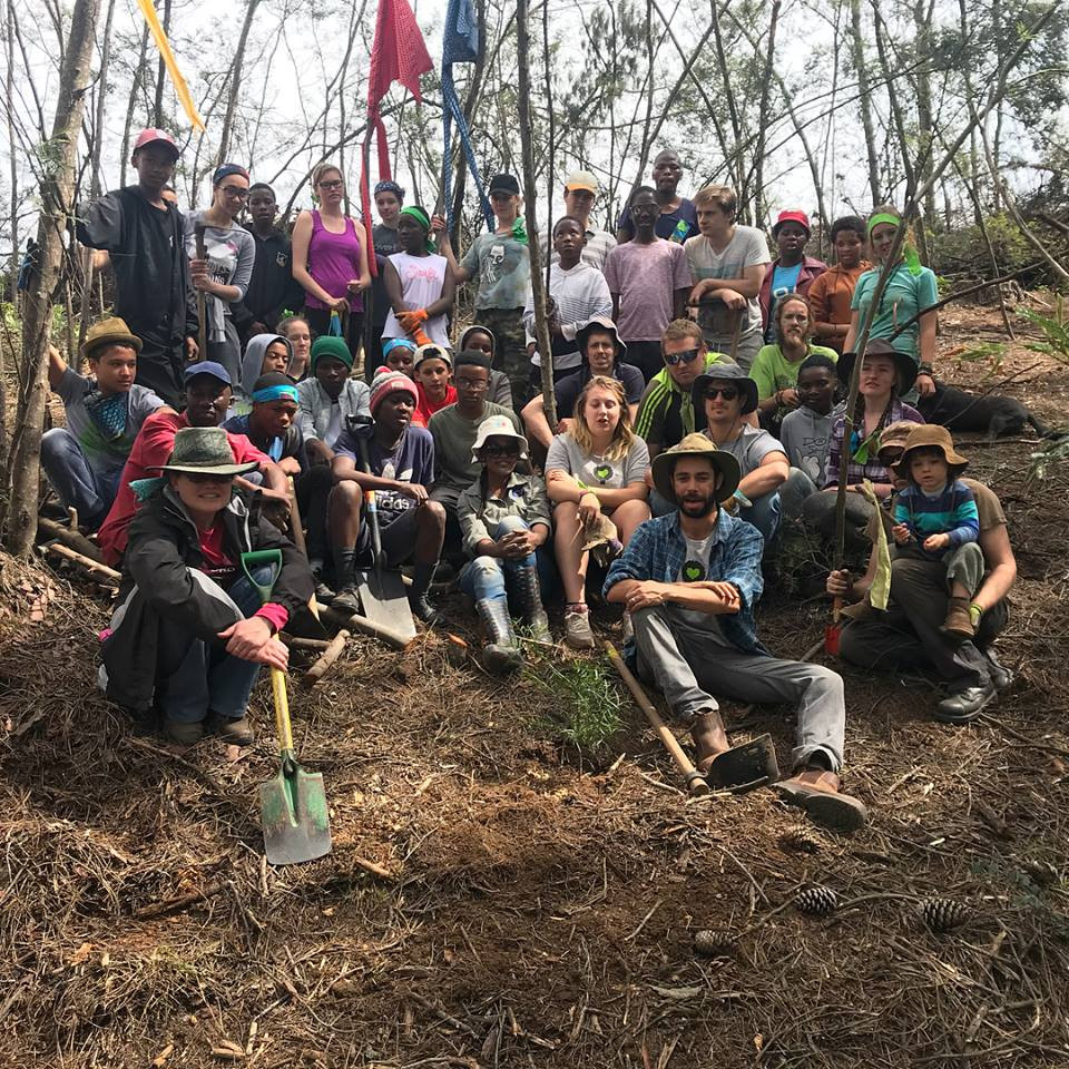 The whole team together after a hard days work in the forest (Shane Eades)