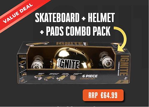 Ignite LED Skateboard + Helmet +Pads Combo Set