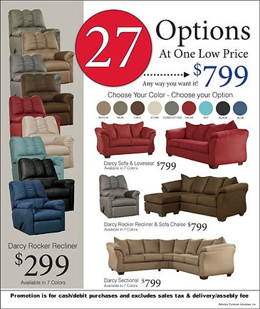 Ashley Furniture Darcy Series sofa & lovseat, sofa chaise, sectional, and recliner