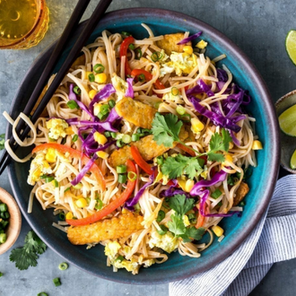 Tempeh Pad Thai with Broccoli and Corn
