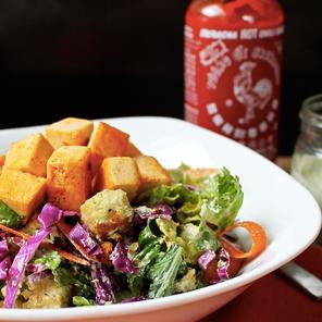 Buffalo Tofu Salad with Creamy Ranch Dressing