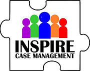 """Puzzle piece with 5 multi-colored people and the words """"Inspire Case Management"""""""
