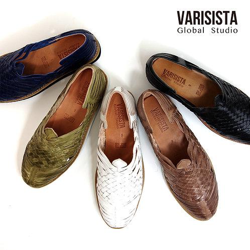 【VARISISTA Global Studio ヴァリジスタグローバルスタジオ】レザーメッシュ ウーヴン スリッポンサンダル(MOGU)