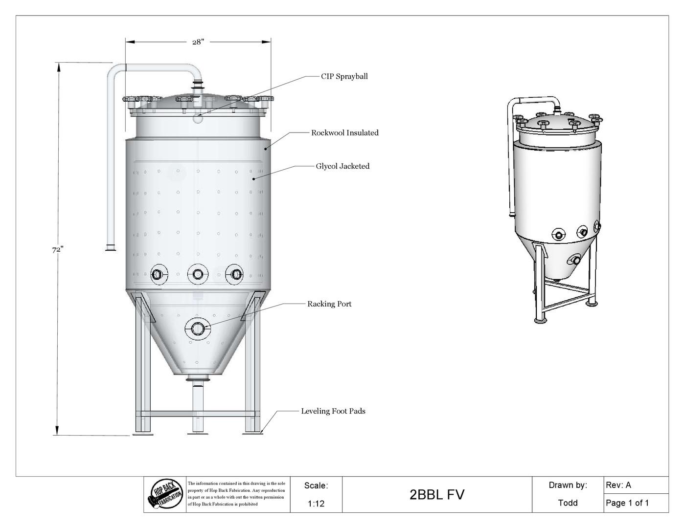 Drawing for 2 BBL Fermentation Vessel