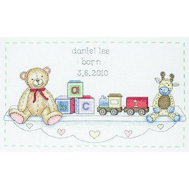 Anchor Essential Kits: Cross Stitch – Toy Shelf Birth Sampler