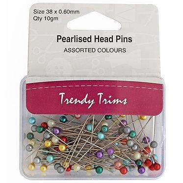 TT Pearlised Head Pins Box 10g 38x0.60mm