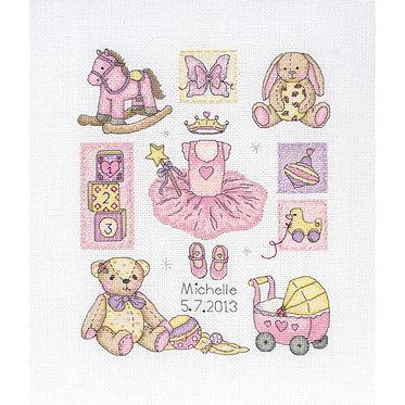 Cross Stitch - Girl Birth Record